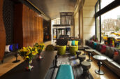 lounge with seats and yellow petaled flowers