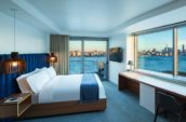 bedroom over looking river and skyline