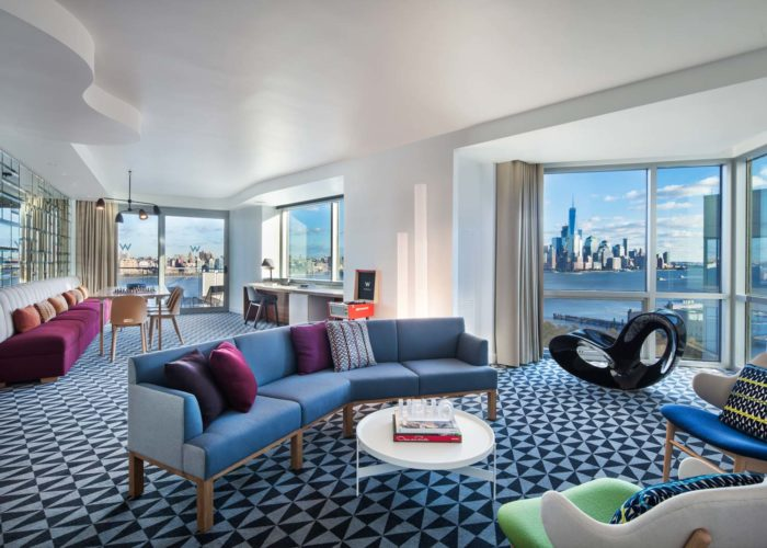 hotel suite overlooking river and New York City skyline