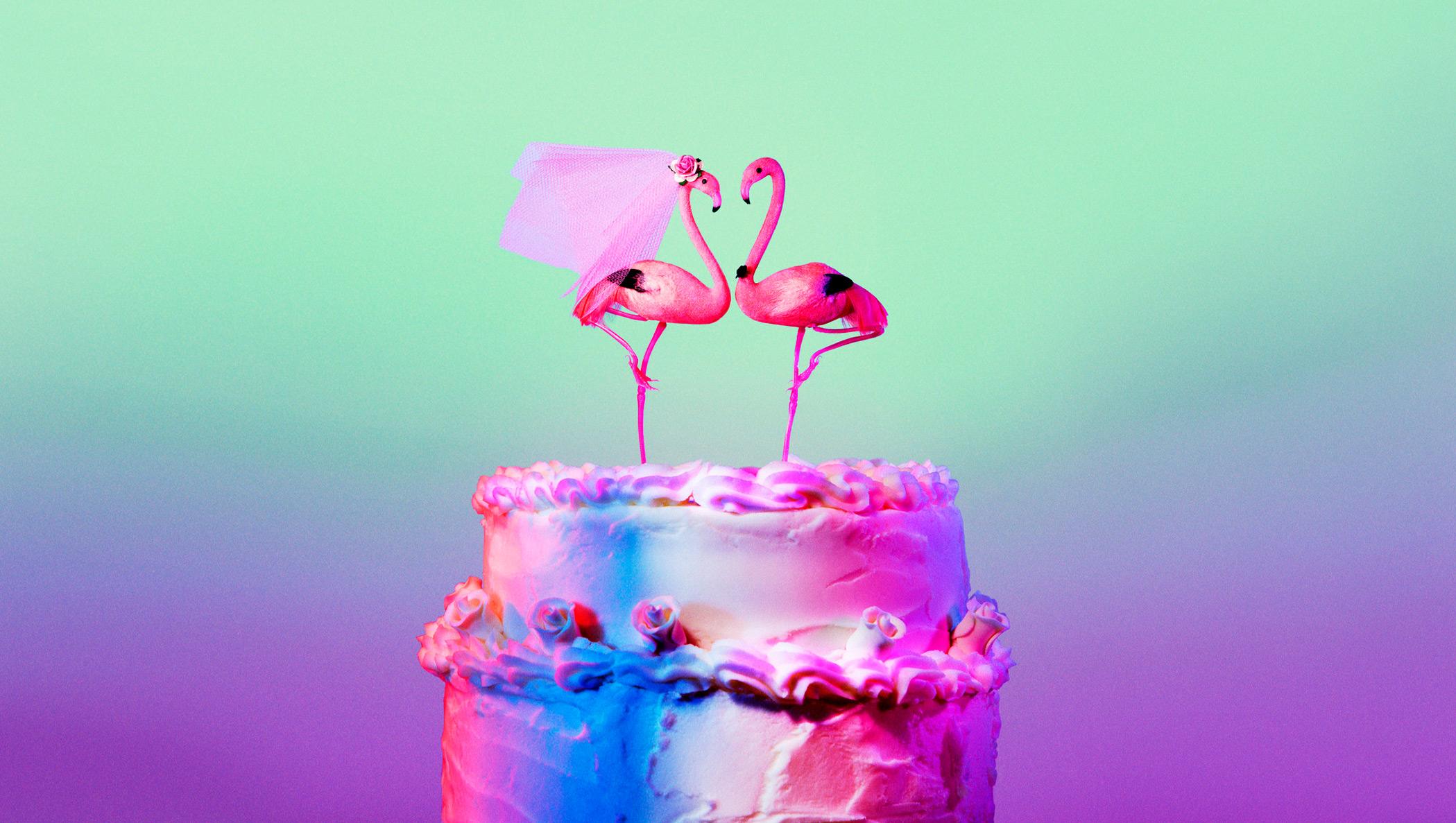 baked cake with flamingo