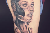 woman eight atm tattoo