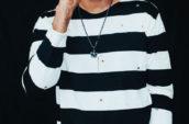 men's black and white striped long-sleeved shirt