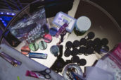 assorted-color accessories on table