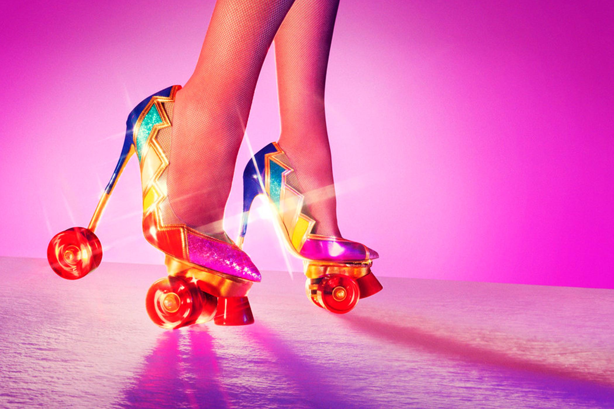 woman wearing high-heels with wheels