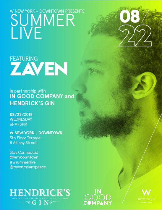 Summer Live Featuring Zaven poster advertisement