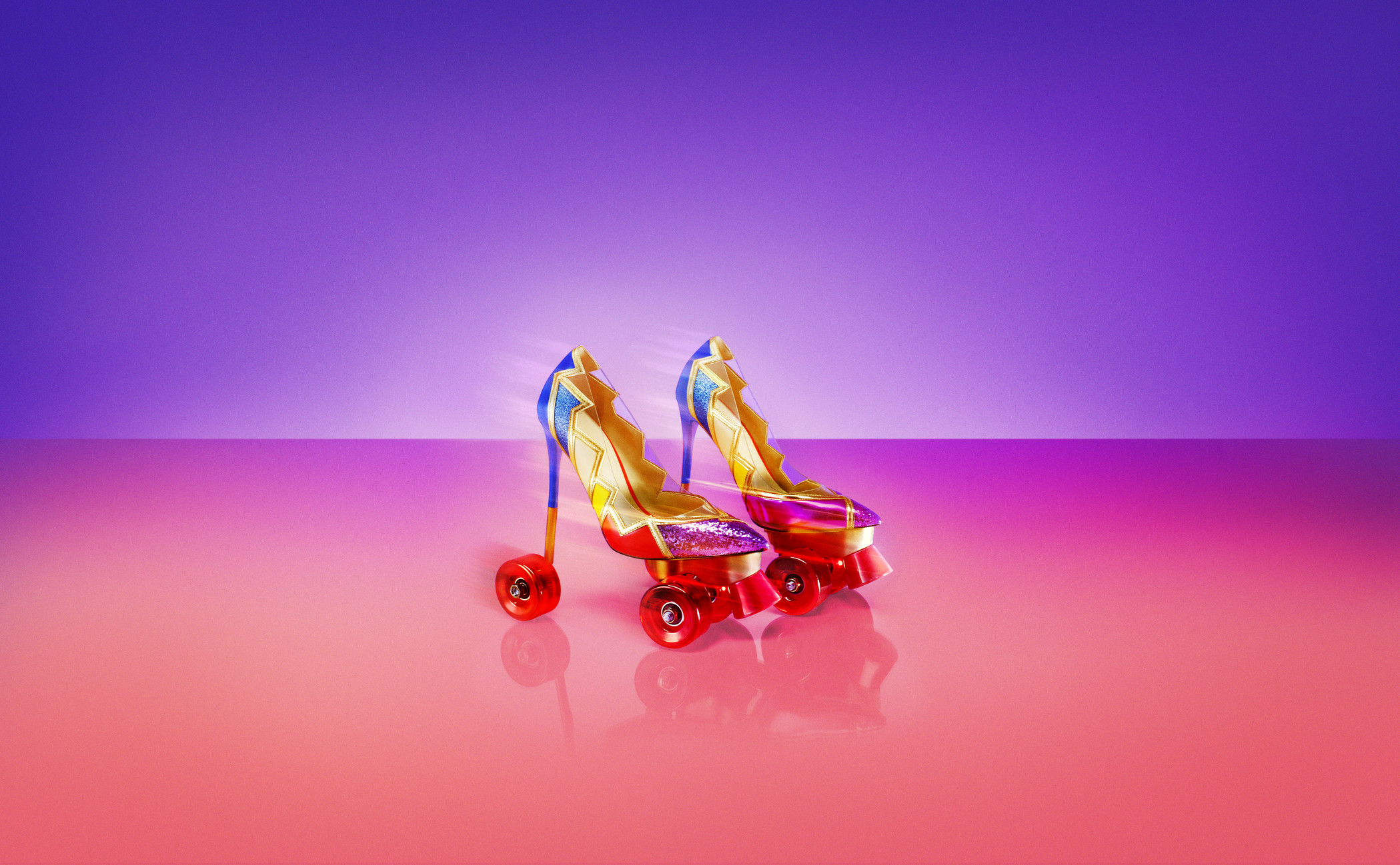 pair of black-and-gold-colored heeled roller skates
