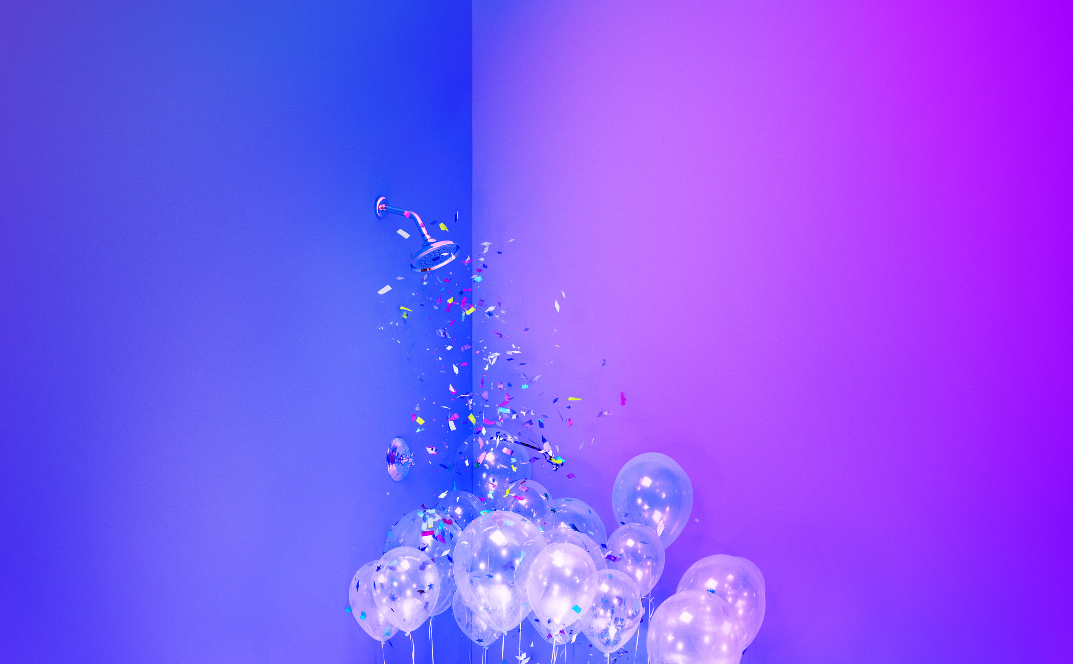 white balloons with confetti on a purple background