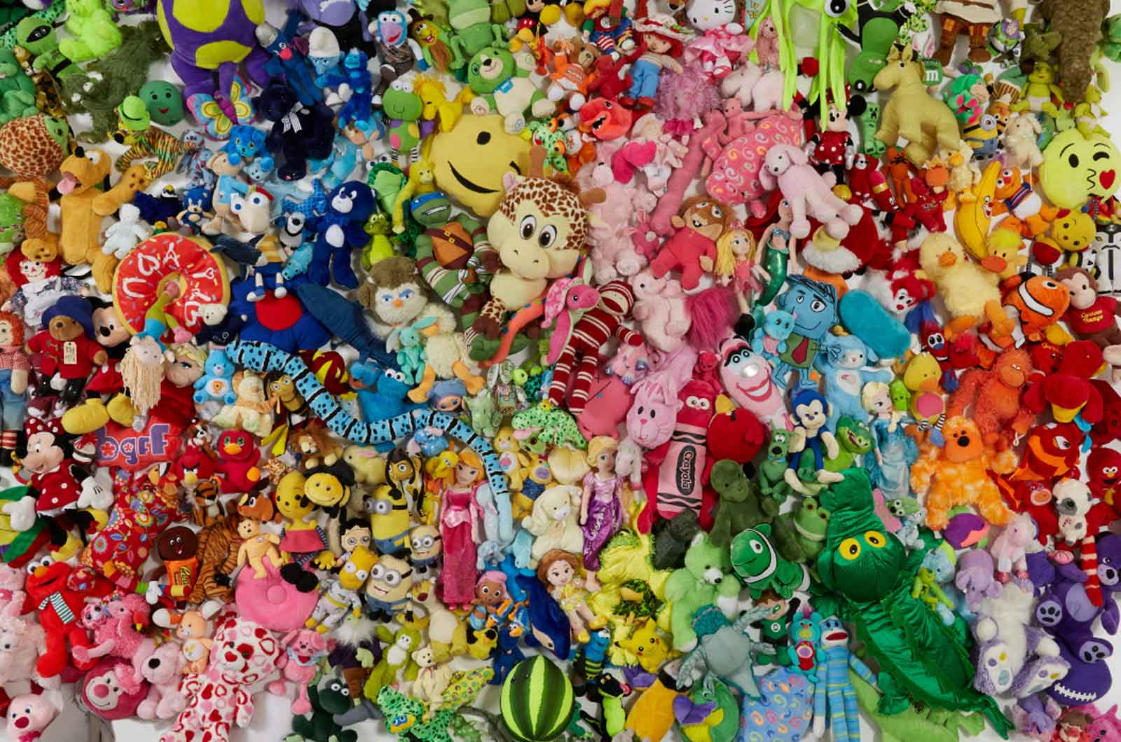 Many colorful stuffed animals